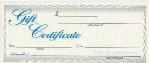 Gift certificates are always available. Good for all products and services and they never expire!